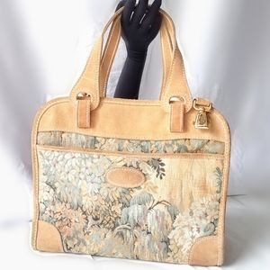 French Co Paradise Collection Tapestry Suede Bag